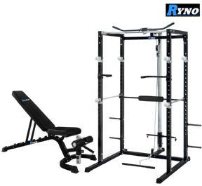 Ryno™ Ultimate Power Rack & FID Dumbbell Weight Bench Package - Black / Silver